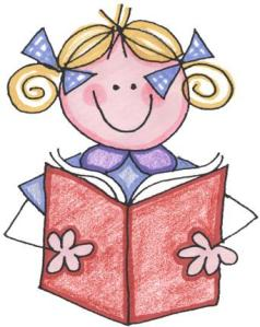 girl reading clip art